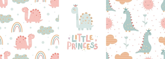 Cute dinosaur seamless patterns set and lettering - little princess. digital paper