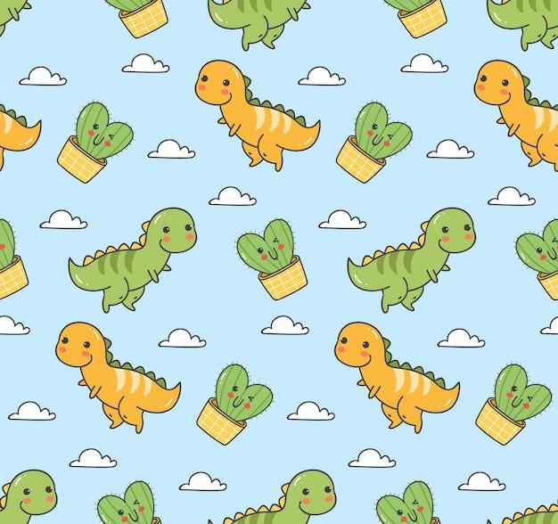 Cute dinosaur seamless