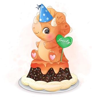 ケーキのイラストに座っているかわいい恐竜