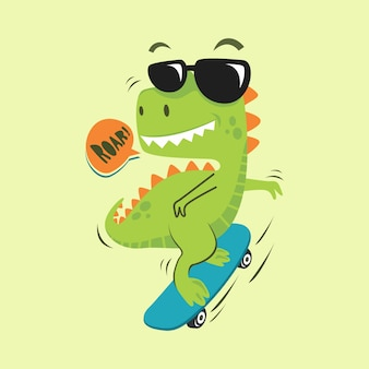 Cute dinosaur skate with glasses cartoon illustration flat design