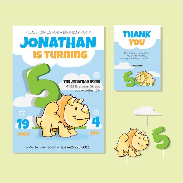 Fifth Birthday Party Invitation Card Vector Free Download