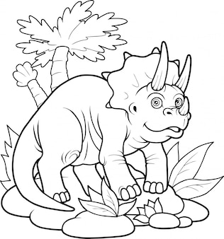 Милый динозавр трицератопс