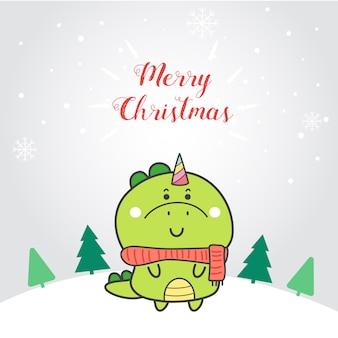 귀여운 공룡 유니콘 만화 손 크리스마스에 그려진.