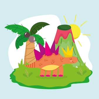 Cute dinosaur and volcano