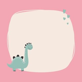 シンプルな漫画の手描きスタイルのしみフレームを持つかわいい恐竜。あなたのテキストや写真のテンプレート