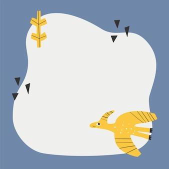 간단한 만화 손으로 그린 스타일의 오점 프레임이 있는 귀여운 공룡.
