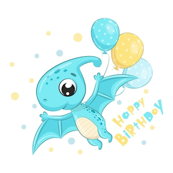 Cute dinosaur with balloons cartoon style illustration