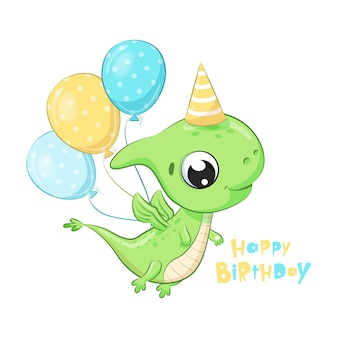 Cute dinosaur with balloons. happy birthday clipart