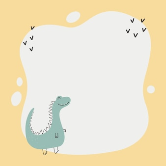 Cute dinosaur with a blot frame in simple cartoon handdrawn style template for your text or photo