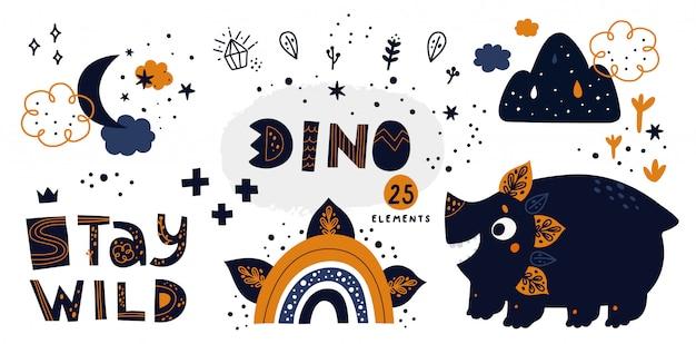 Cute dinosaur with hand drawn doodle elements: rainbow, crystal, moon, cloud, stars