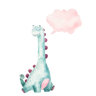 Cute dinosaur with long neck and thought icon, cloud, kids watercolor illustration