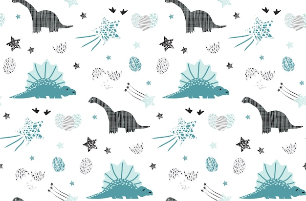 Cute dinosaur with star seamless pattern