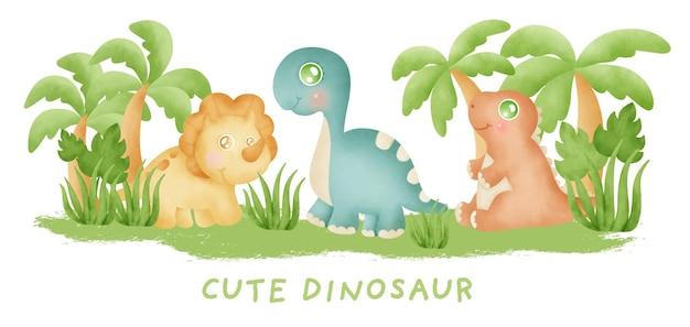 수채화 일러스트와 함께 귀여운 공룡. 베이비 샤워.