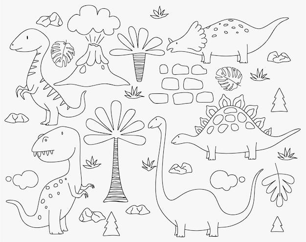 かわいい恐竜と熱帯植物