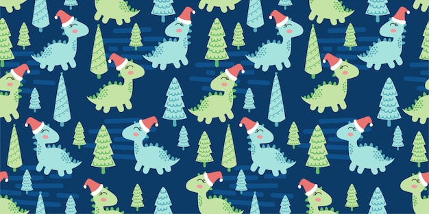 Cute dinosaurs animal seamless pattern doodle dino winter theme