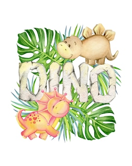Cute dinosaurs, brown and red colors, letters, tropical leaves. watercolor, animal, cartoon style, on an isolated background, for children's decor.
