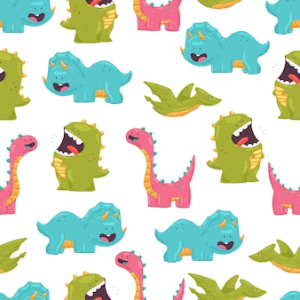 Cute dinosaurs cartoon seamless pattern on white background for wallpaper, wrapping, packing, and backdrop.