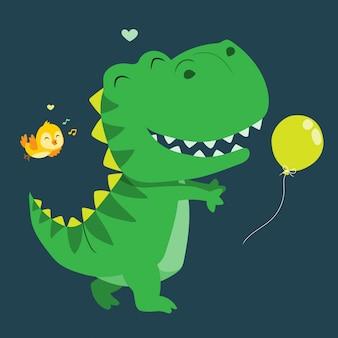 かわいい恐竜が風船のイラストをキャッチ