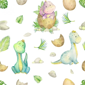 Cute dinosaurs collection watercolor seamless pattern