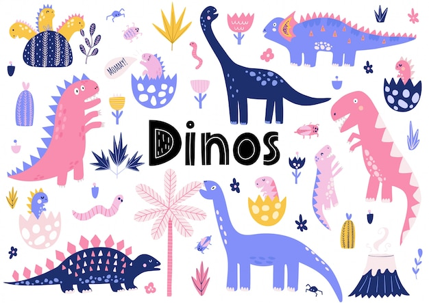 Cute dinosaurs collection with their baby dinos Premium Vector