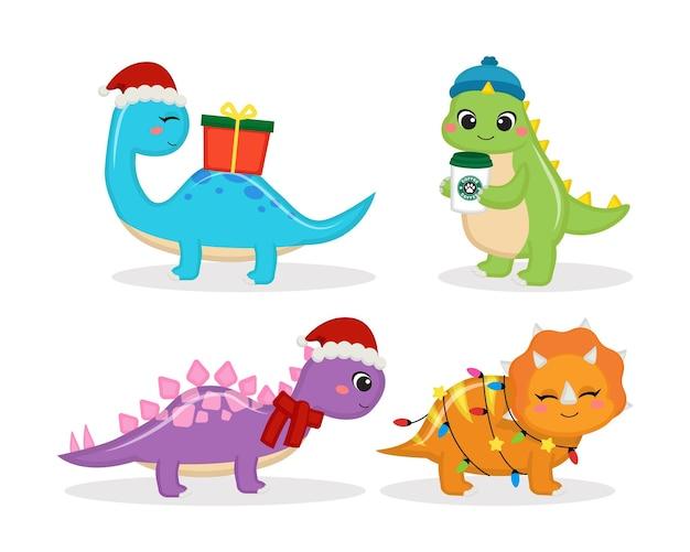 かわいい恐竜の友達がクリスマスコレクションを祝う