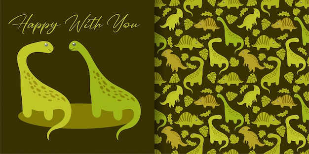 Cute dinosaurs hand drawn with seamless pattern set