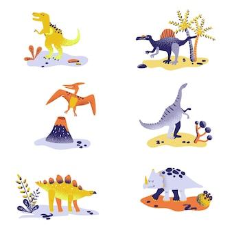 Симпатичные динозавры, изолированные на белом фоне. след динозавра, вулкан, пальма, камни. коллекция baby dino для детской, текстиль, книга, печать в векторе