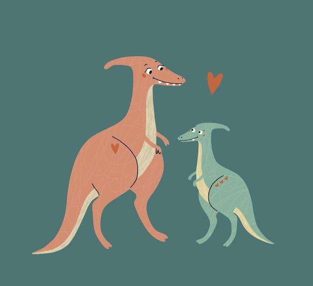 かわいい恐竜、ママと赤ちゃん。先史時代。子供のイラスト。