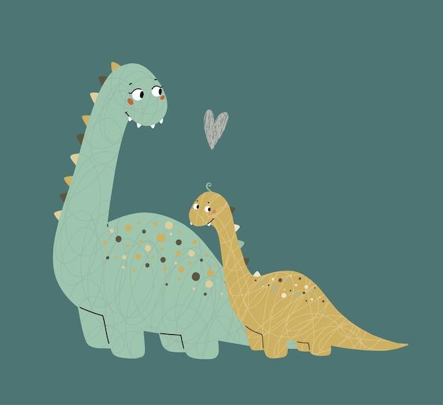 Cute dinosaurs mom and baby prehistoric era childrens illustration