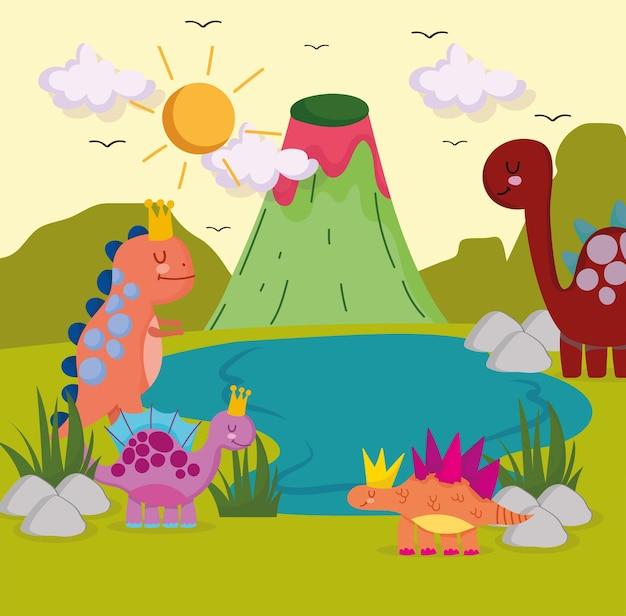 Cute dinosaurs nature scene