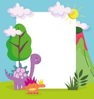 Cute dinosaurs and placard