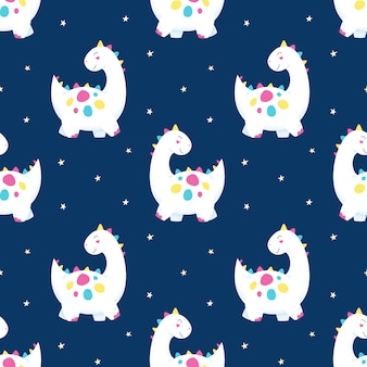 Cute dinosaurs seamless pattern on starry sky