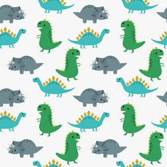 Cute dinosaurs seamless pattern.