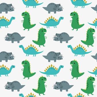 Симпатичные динозавры бесшовные модели.