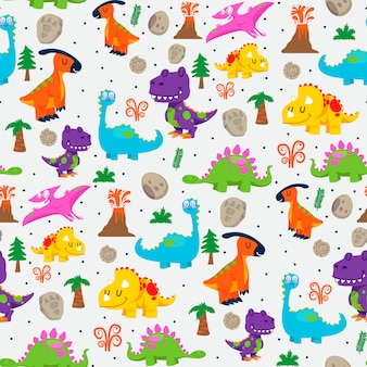 Cute dinosaurs seamless pattern