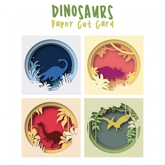 Cute dinosaurs set in cartoon paper art colorful  illustration