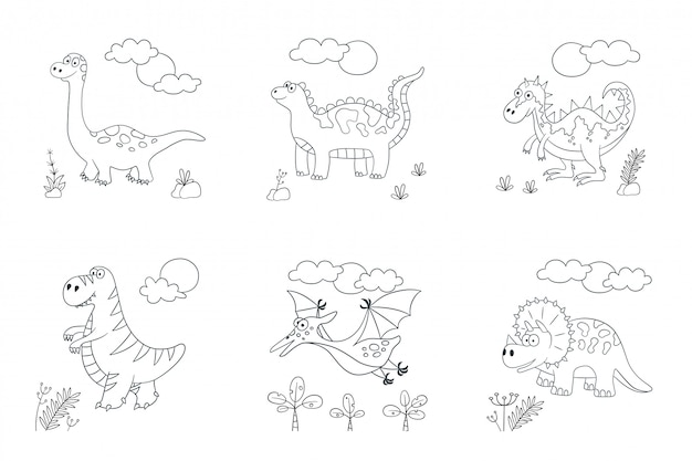 Симпатичные динозавры. набор динозавров. иллюстрация в каракули и мультяшном стиле