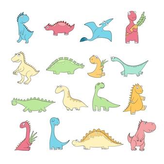 Симпатичные динозавры. набор забавных диких древних рептилий птеродактиль диплодок векторных каракули символов. персонаж динозавра, трицератопс динозавра и доисторическая иллюстрация стегозавра