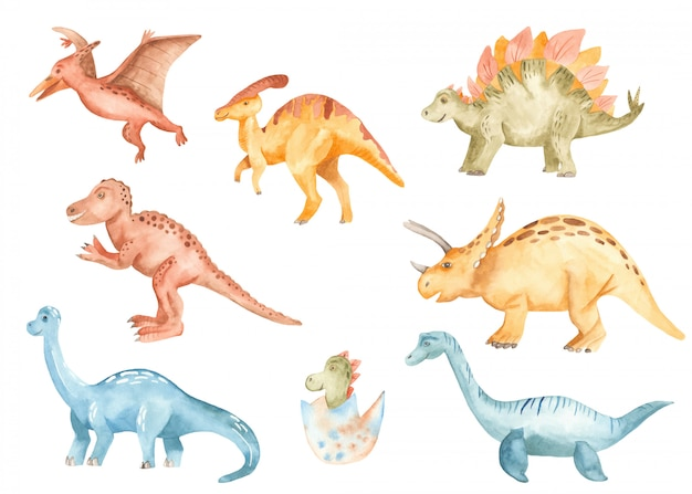 Cute dinosaurs in watercolor style
