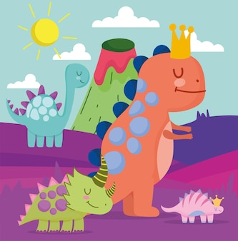 Cute dinosaurs with landscape