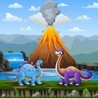 Симпатичные динозавры с извержением вулкана фоновой иллюстрации