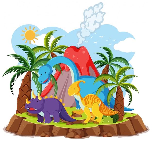 Симпатичные динозавры с извержением вулкана на белом фоне