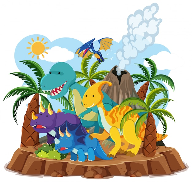 Cute dinosaurs with volcano eruption isolated on white background