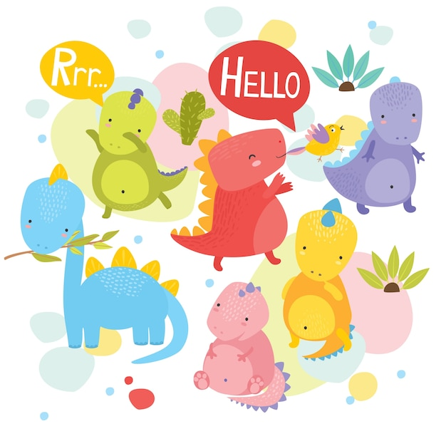 Image of: Vector Image Cute Dinosaurs Freepik Dino Vectors Photos And Psd Files Free Download