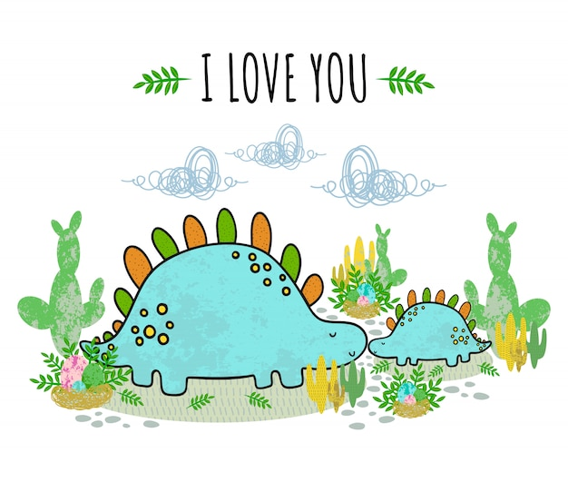 Cute dinosaurus, cactus, egg, leaves, succulent