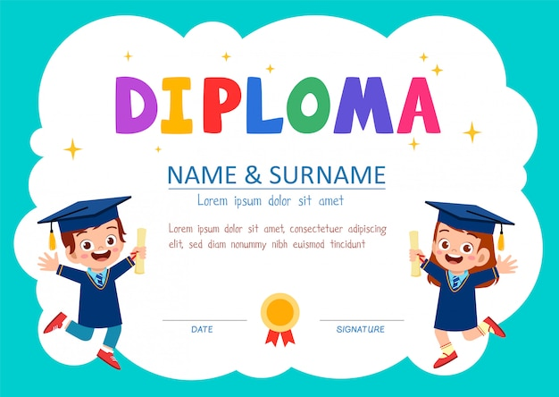 Cute diploma certificate template for school student