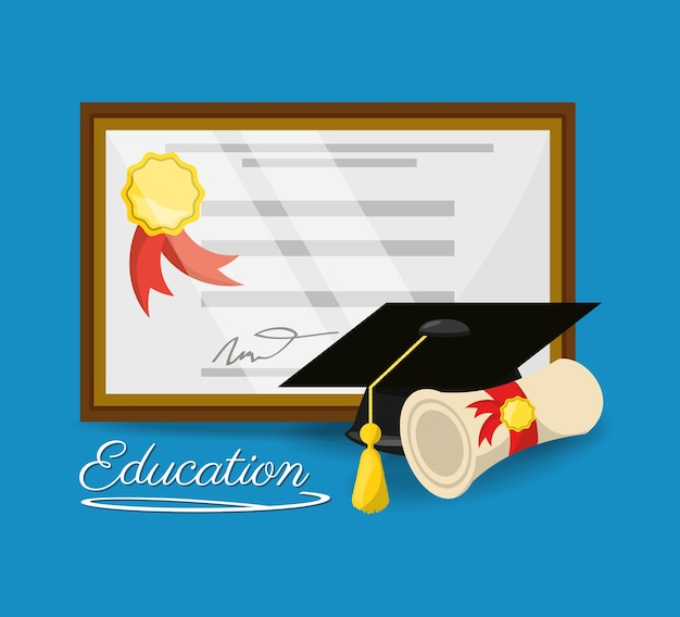 Cute diploma of graduation to education study