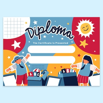 Cute diploma template for kids