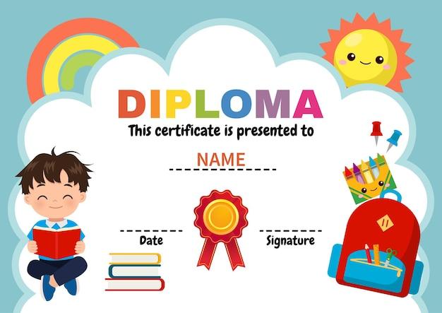 Cute diploma template for school boy