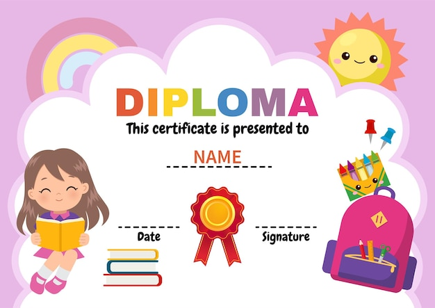 Cute diploma template for school girl